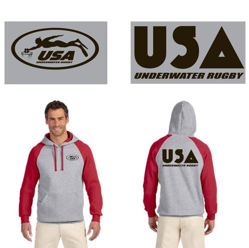 USA Underwater National Rugby Team Jerzees 8 oz., 50/50 NuBlend® Colorblock Raglan Pullover Hood