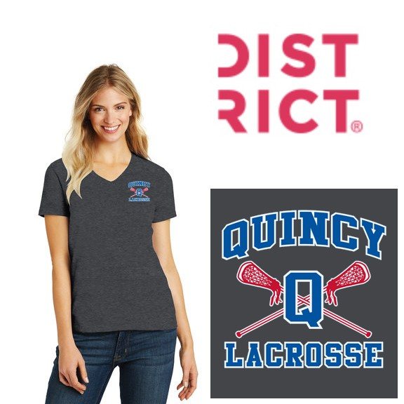Quincy Lacrosse District ® Women's Perfect Blend ® V-Neck Tee (Ladies)
