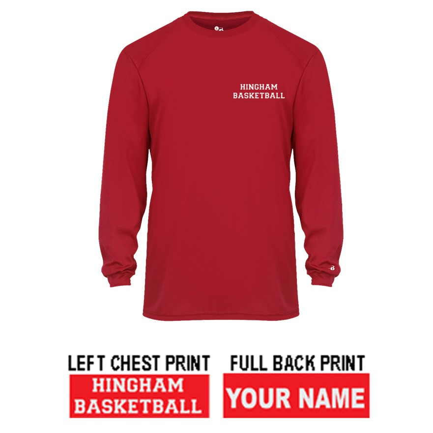 "Hingham Girls Basketball Travel Team Exclusive Badger B-Core L/S ""Shooter Shirt"" Tee, Adult Unisex/Mens"