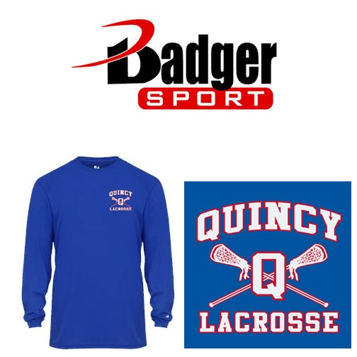 Quincy Lacrosse Badger Brand Adult Mens/Unisex Core L/S Tee (Performance Comfort Dry)