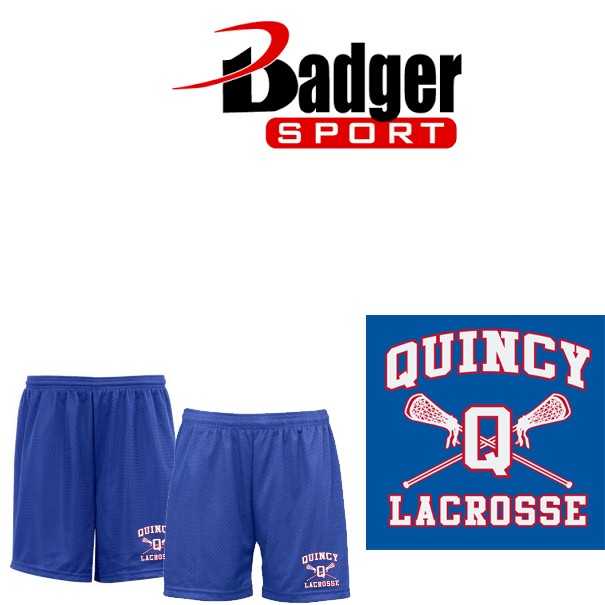 Quincy Lacrosse Badger Tricot Mesh Shorts, Boys & Girls Fit, Embroidered!