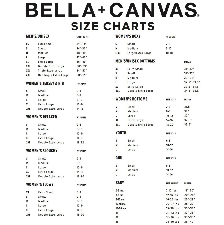 SIZE CHART- Bella/Bella & Canvas