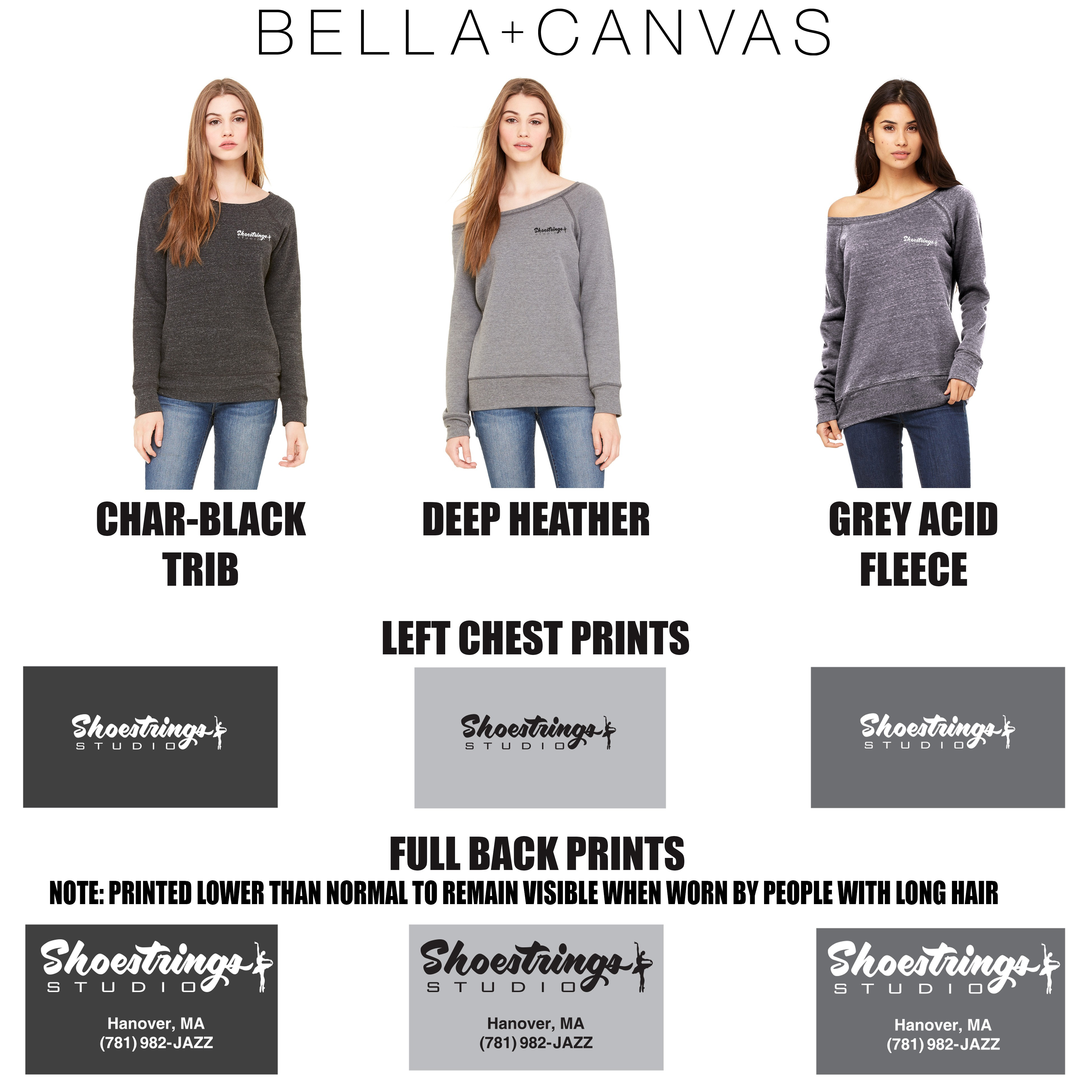Shoestrings Studio Bella + Canvas Ladies' Sponge Fleece Wide Neck Sweatshirt