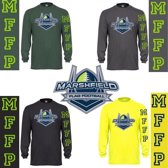 Marshfield Flag Football Badger Core Long Sleeve Performance Wicking Tee