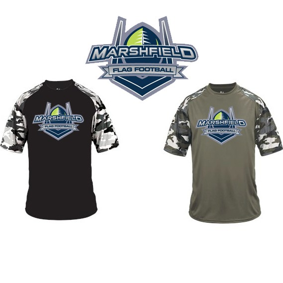 Marshfield Flag Football Badger Camo Sport Tee