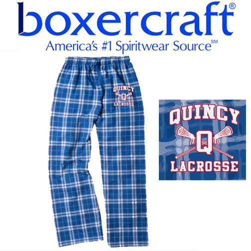 Quincy Lacrosse Boxercraft Brand EMBROIDERED Flannel Pants, Youth & Adult!