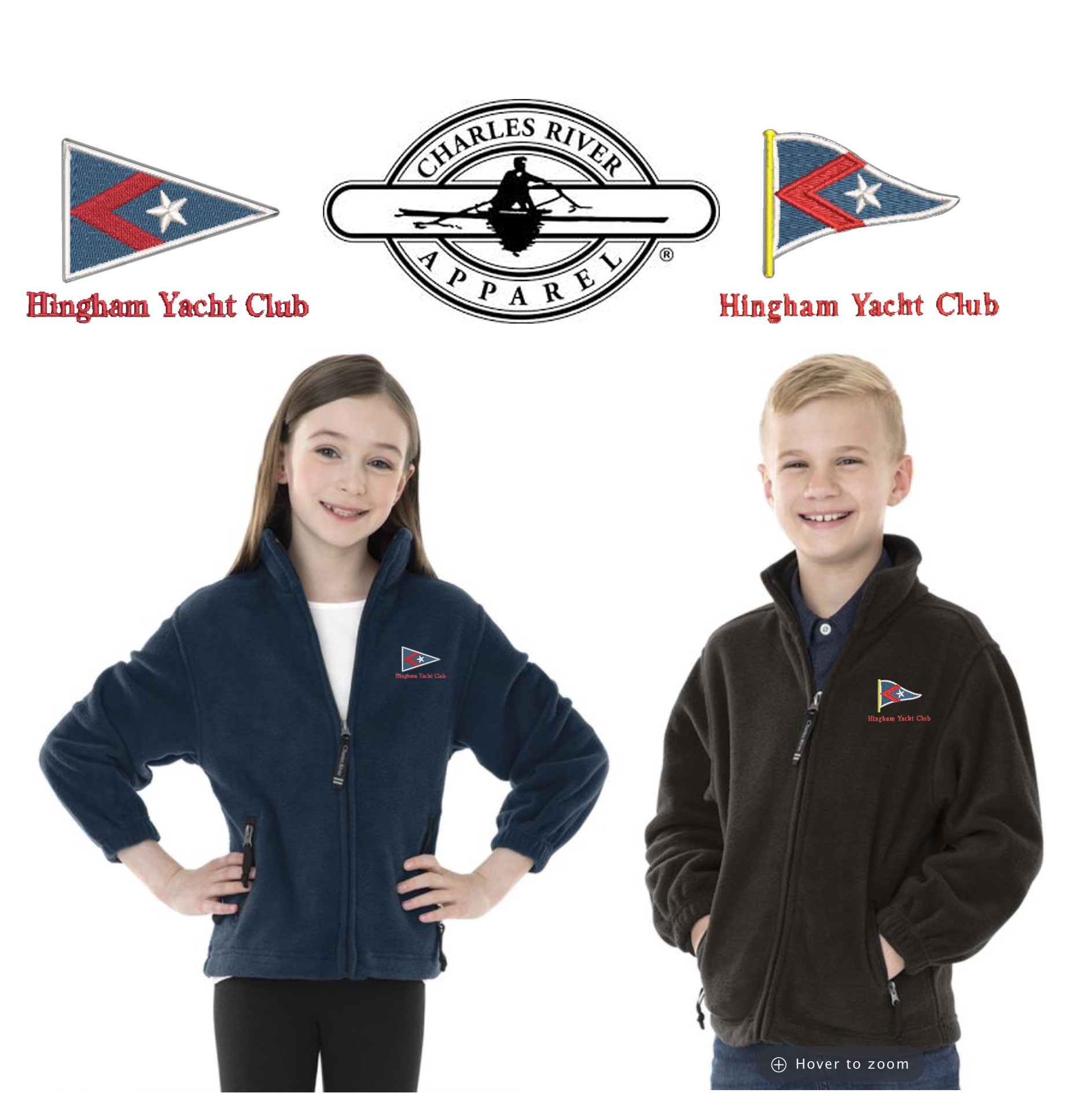 Hingham Yacht Club Charles river Youth Voyager Fleece Jacket 8502