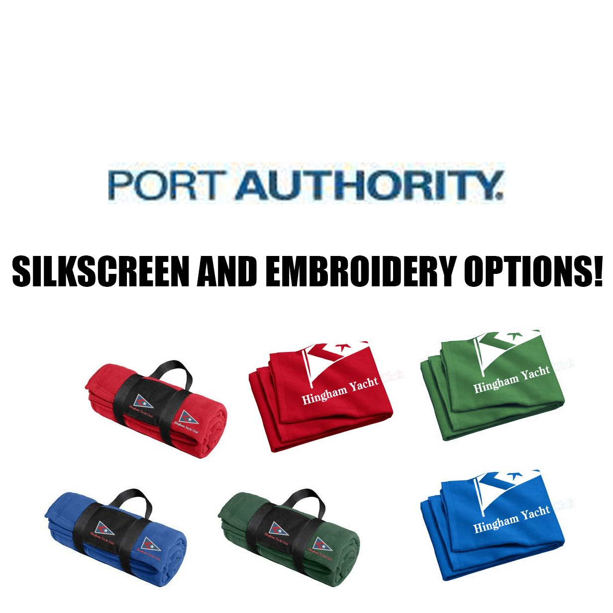Hingham Yacht Club Port Authority® Fleece Blanket with Carrying Strap BP20