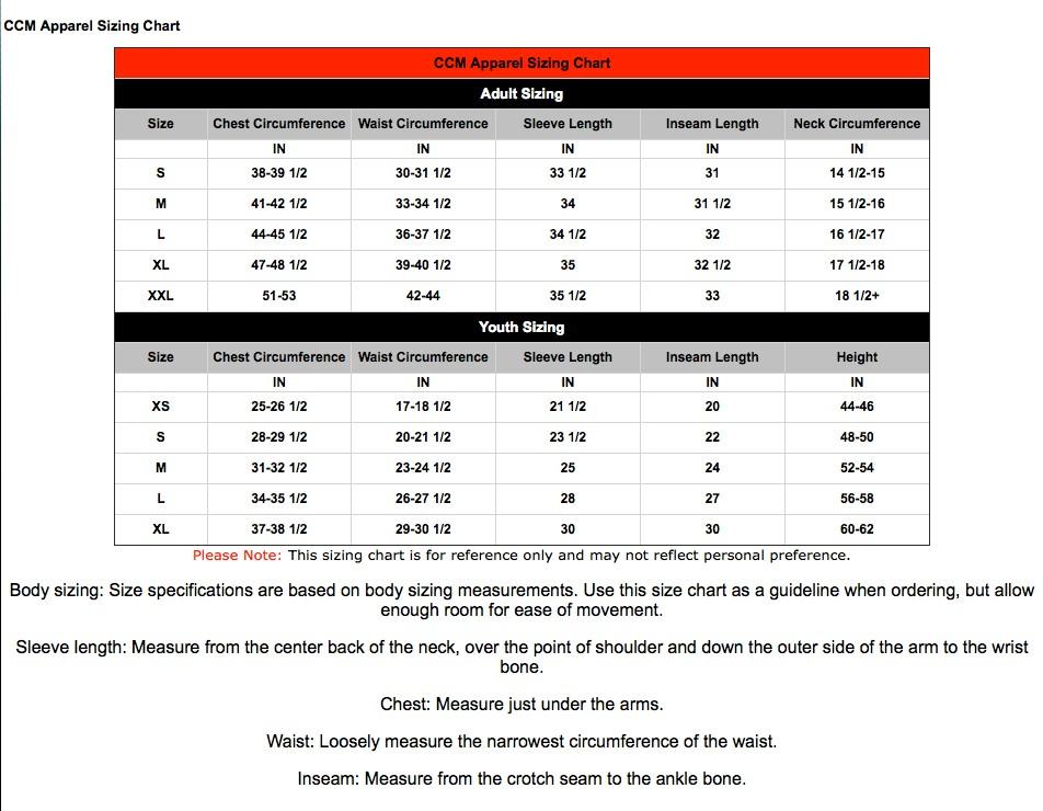 SIZE CHART- CCM/Team Reebok (Hockey)