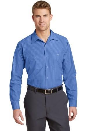 Red Kap® Long Size, Long Sleeve Striped Industrial Work Shirt
