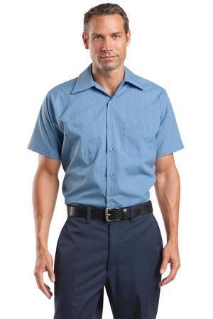 Red Kap® Long Size, Short Sleeve Striped Industrial Work Shirt