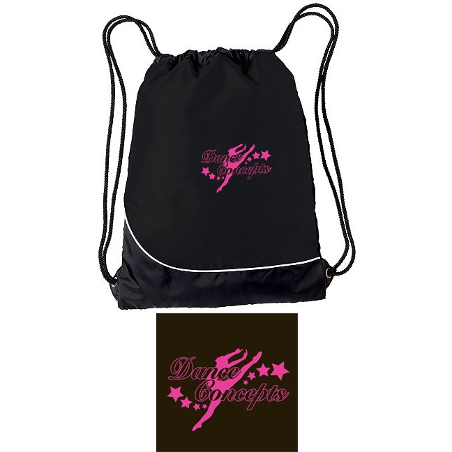 Dance Concepts Holloway Day Pak Cinch Bag, EMBROIDERED LOGO!