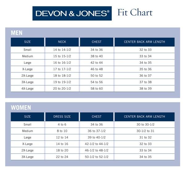 SIZE CHART- Devon & Jones
