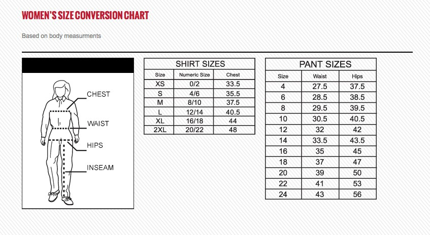 SIZE CHART- Dickies