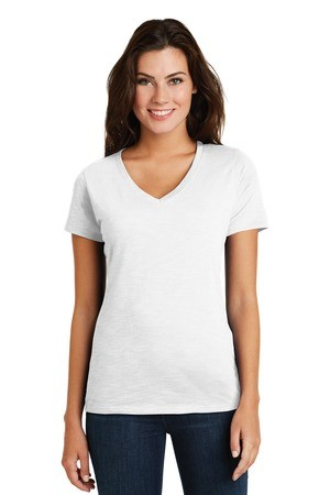 District Made® Ladies Super Slub™ V-Neck Tee DM3501