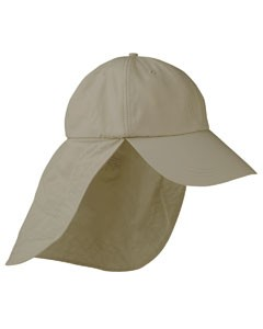 Adams 6-Panel UV Low-Profile Cap with Elongated Bill and Neck Cape