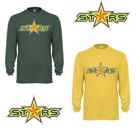"Coastal Stars Badger Brand Performance Core Long Sleeve Tee, ""STARS"" logo"