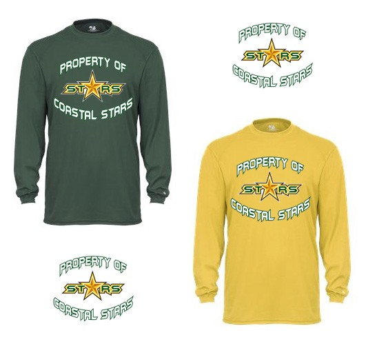 "Coastal Stars Badger Brand Performance Core Long Sleeve Tee, ""PROPERTY OF"" Logo"