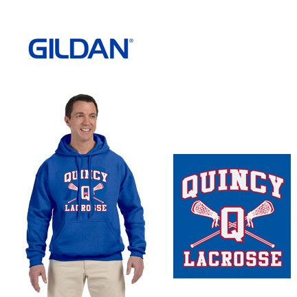 Quincy Lacrosse Gildan Brand Adult Hooded Pullover Sweatshirt