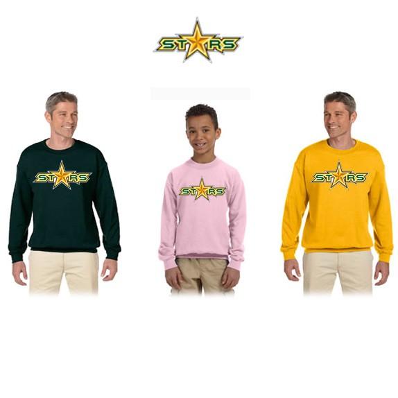 "Coastal Stars NES Gildan Brand HeavyBlend 8oz Fleece Crew Sweatshirt, ""STARS"" Logo"