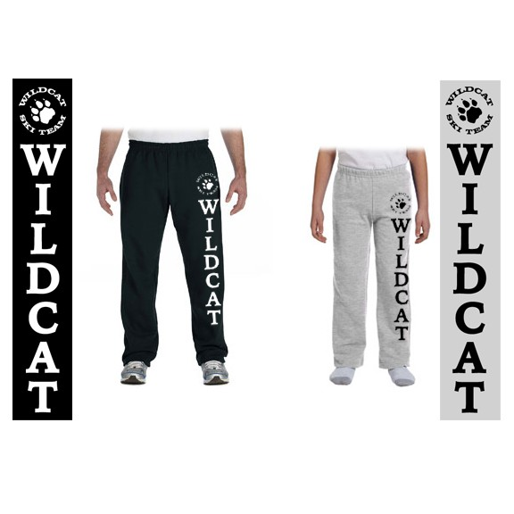 Wildcat Ski Team Gildan Heavy Blend 8oz Open Bottom Sweatpants (Youth & Adult)