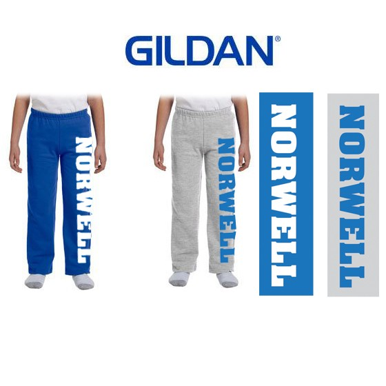 Cole School Norwell Apparel Gildan Heavy Blend™ 8 oz., 50/50 Open-Bottom Sweatpants, Youth Unisex Fit