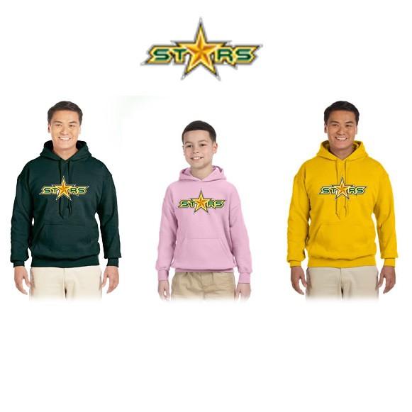 "Coastal Stars NES Gildan Brand HeavyBlend 8oz 50/50 Hoodie Sweatshirt, ""STARS"" Logo"