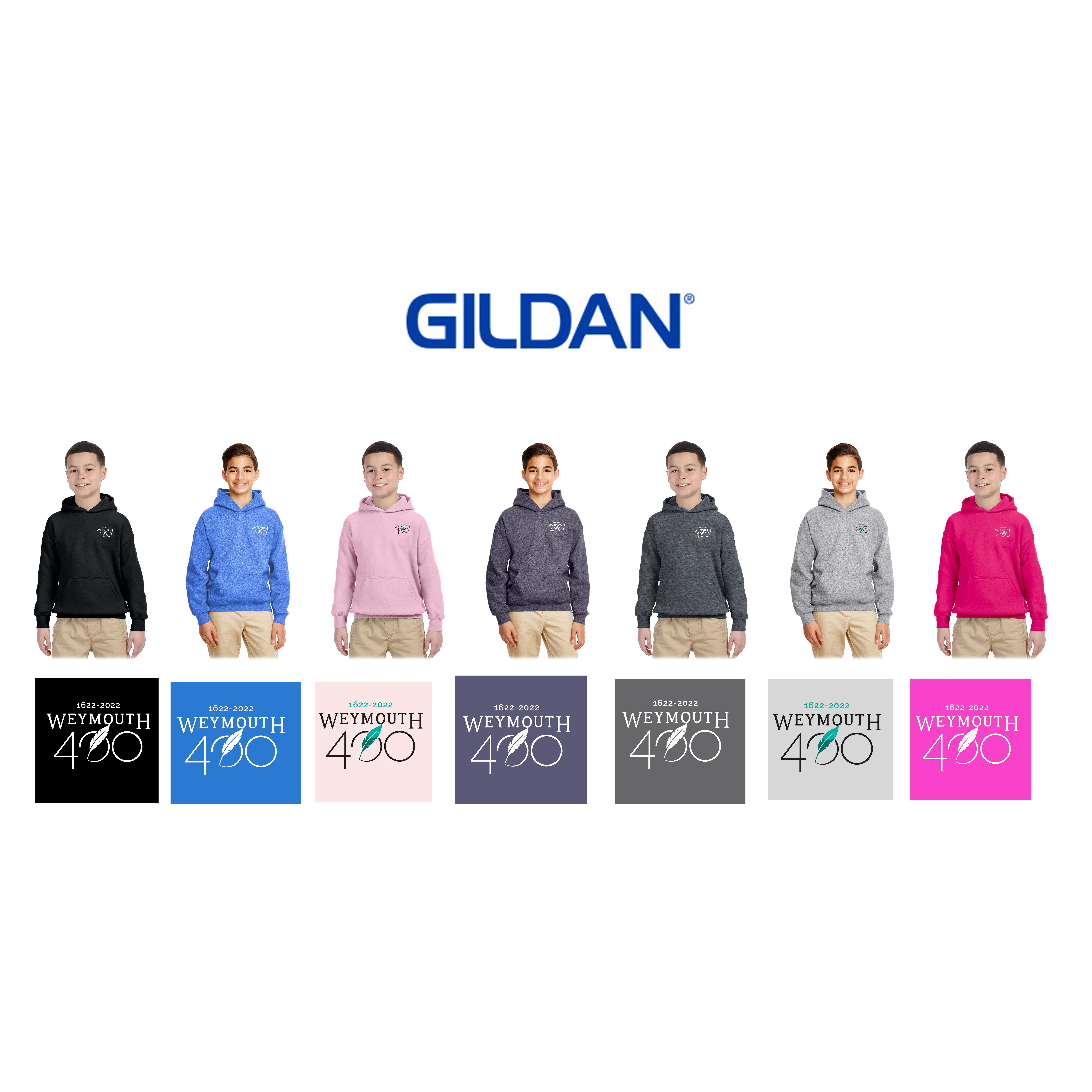 Weymouth 400 Gildan Youth Heavy Blend™ 8 oz., 50/50 Hooded Pullover, Embroidered