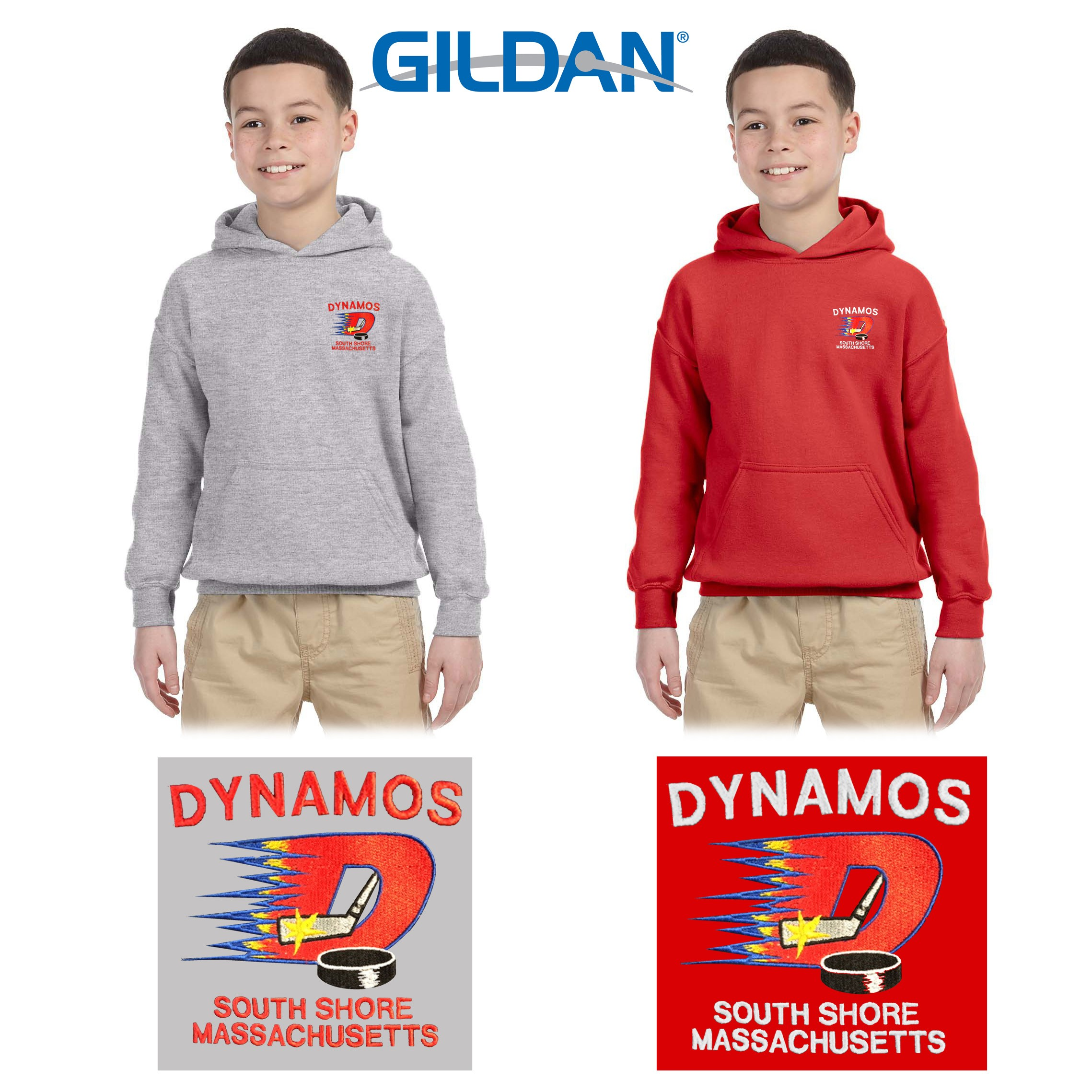 Dynamos Hockey Gildan Youth Heavy Blend™ 8 oz., 50/50 Hooded Sweatshirt