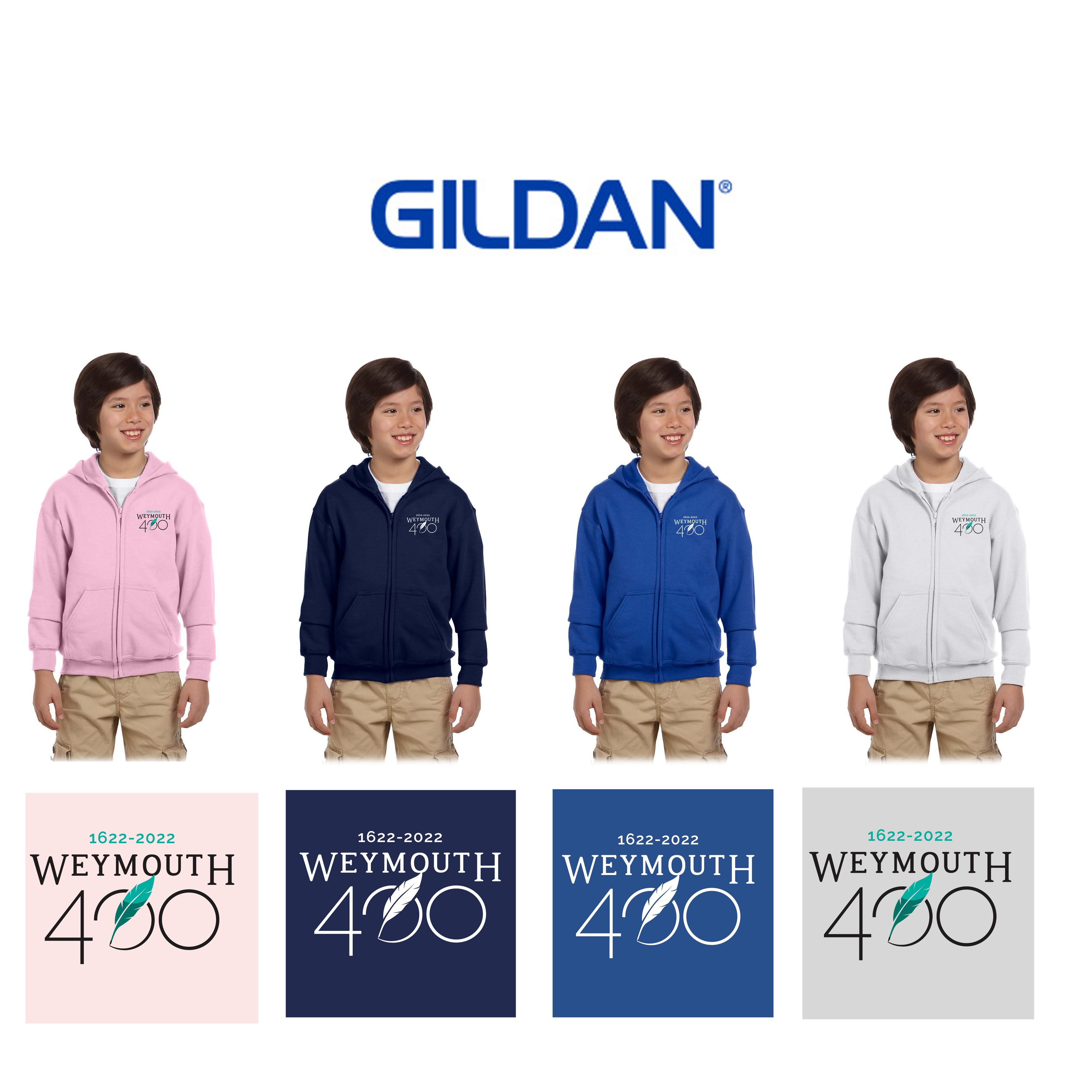 Weymouth 400 Gildan Youth Heavy Blend™ 8 oz., 50/50 Full-Zip Hooded Sweatshirt, Embroidered