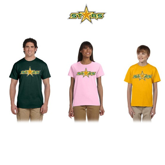 "Coastal Stars NES Gildan Brand UltraCotton 6oz Short Sleeve Tee, ""STARS"" Logo"
