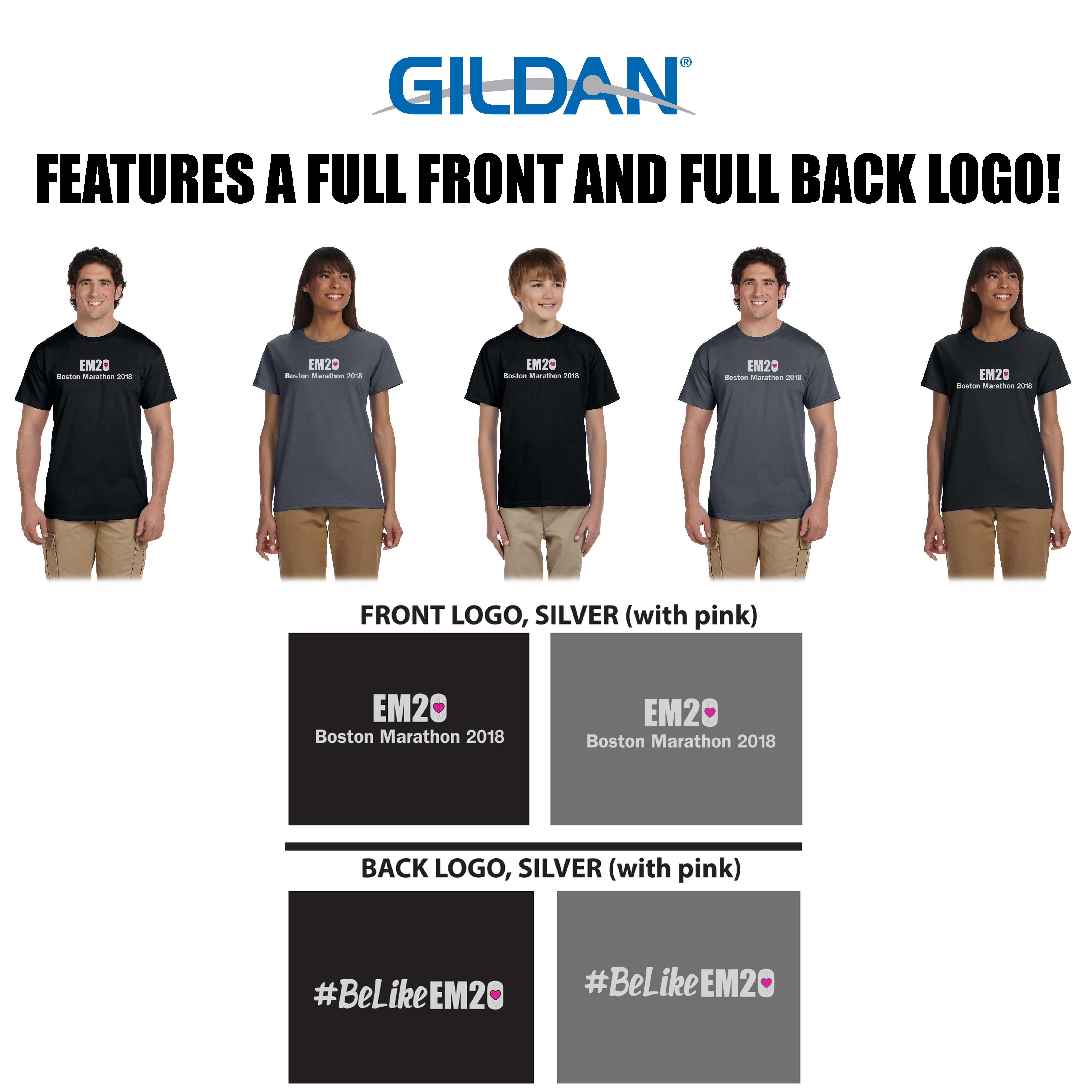 Emma Ryan Scholarship Fund Gildan Ultra Cotton® 6 oz. T-Shirt, Youth, Men's & Women's Fit, SILVER LOGO SPECIAL EDITION BOSTON MARATHON 2018