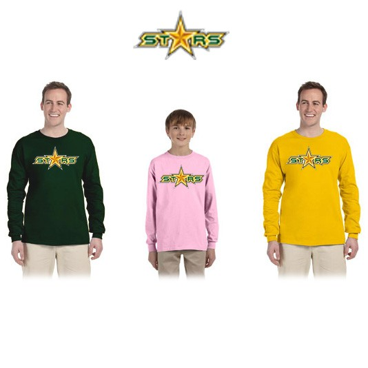 "Coastal Stars NES Gildan Brand UltraCotton 6oz Long Sleeve Tee, ""STARS"" Logo"
