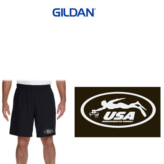 USA Underwater National Rugby Team Gildan Performance 5.5oz 9 Inch Short with Pocket from Alpha/Broder