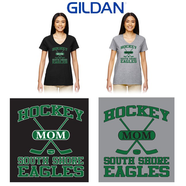 "South Shore Eagles Gildan Ladies' Heavy Cotton™ 5.3 oz. V-Neck T-Shirt, Soccer Mom ""Sporty"" Logo (Ladies/Missy Fit)"