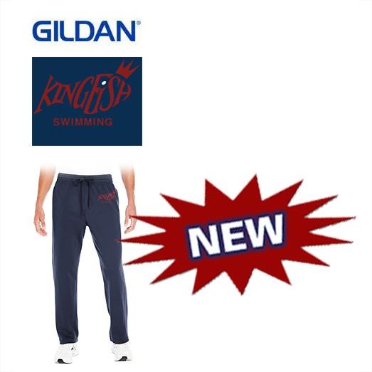 Kingfish Swim Team Gildan Adult Heavy Blend 7.2oz Tech Material Open Bottom Pocket Sweatpants With pockets- NEW!
