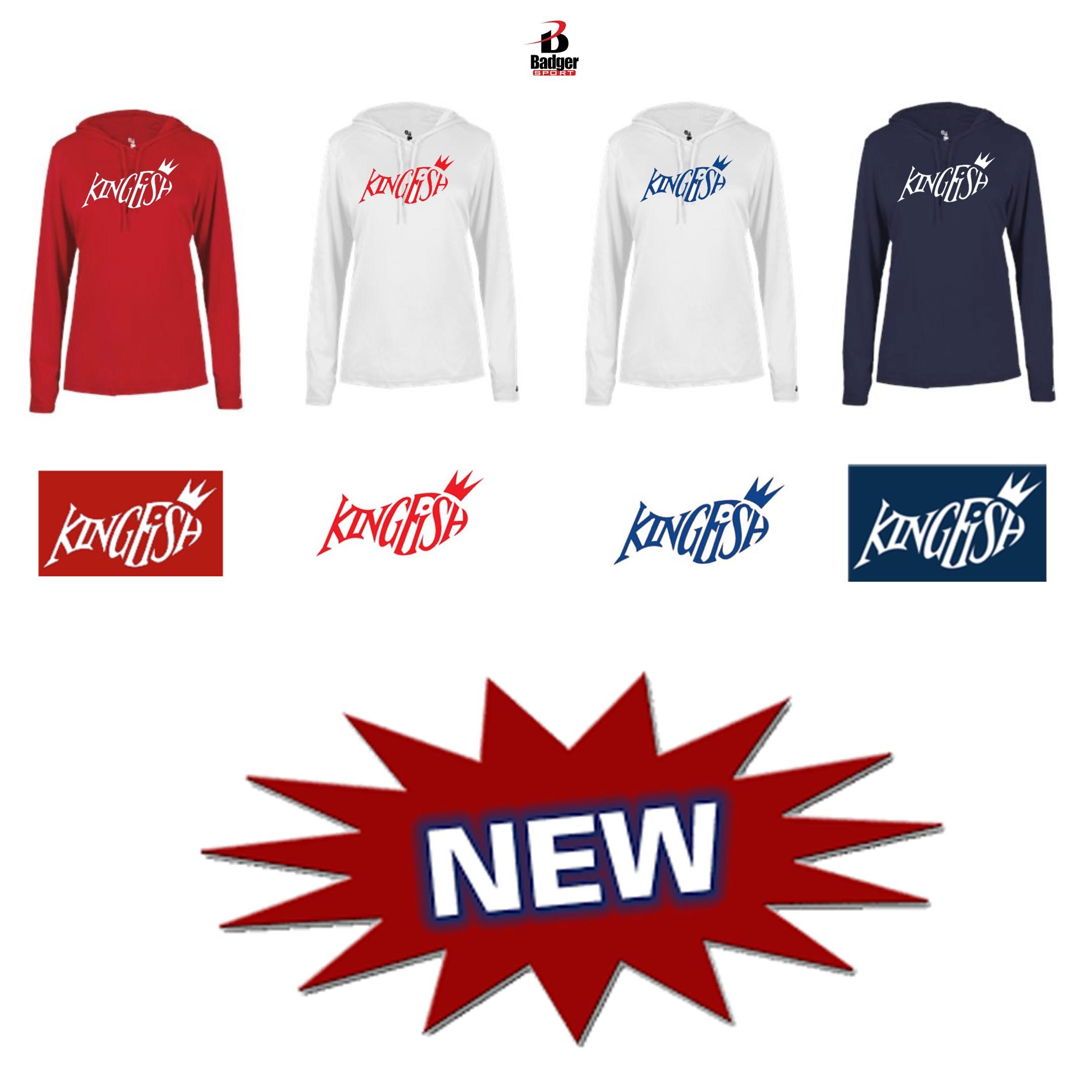 Kingfish Swim Team Badger B-Core Long Sleeve hoodie Tee, Ladies- NEW!