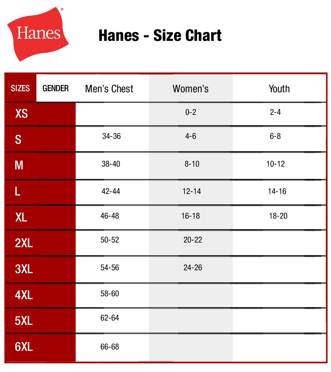 SIZE CHART- Hanes