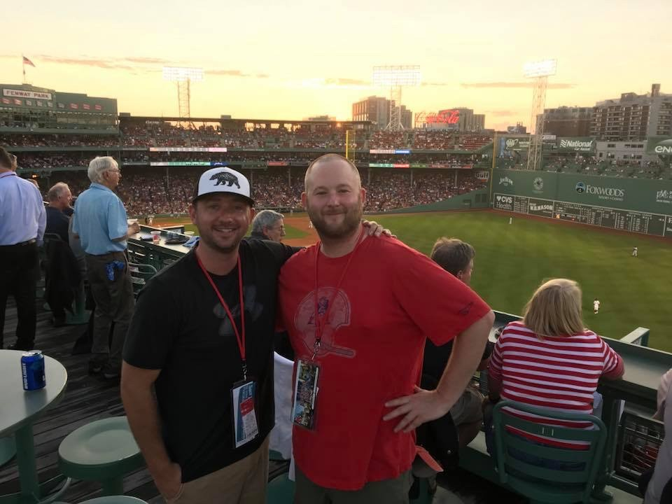 "Sox game with the South Shore Hospital MA President's Circle- John Medlin III (owner/manager) and art director Matt Morris (aka ""Matty-Mo"")."