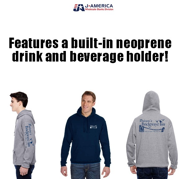 Bridgwaye Inn J America Tailgate Fleece Pullover Hooded Sweatshirt With Built-In Neoprene Drink Holder