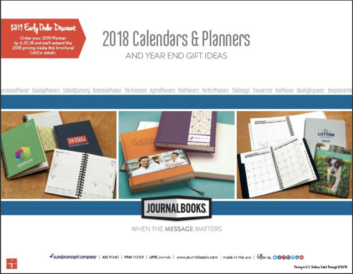 JournalBooks Calendars & Planners and Year End Gift Ideas 2018