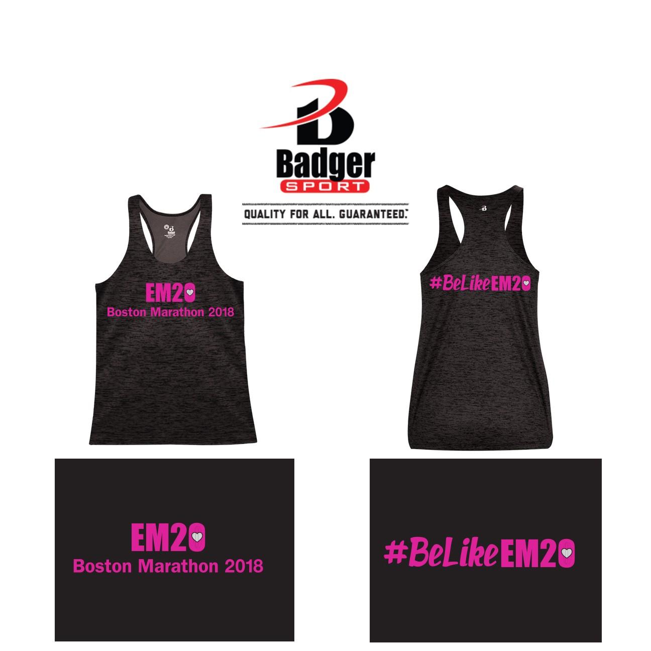 Emma Ryan Scholarship Fund Badger Brand Tonal Blend Racerback Tank, Performance, Women's, Loose, SPECIAL EDITION BOSTON MARATHON 2018