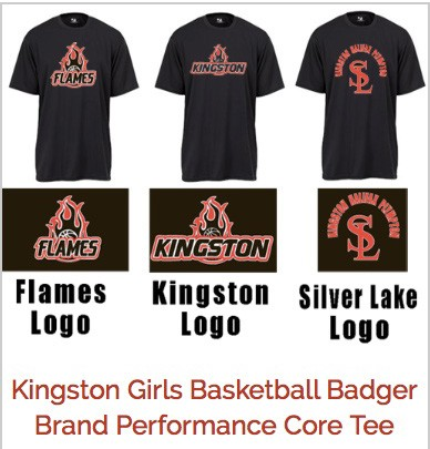 Kingston Girls Basketball Logo Tees, A Variety