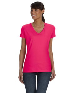 Fruit of the Loom Ladies' 5 oz., 100% Heavy Cotton HD® V-Neck T-Shirt