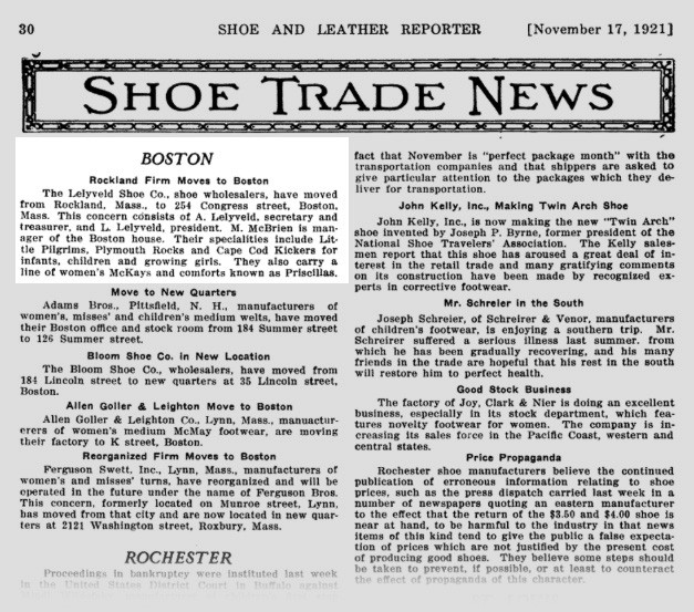 "Lelyveld's Shoes in the ""Shoe & Leather Reporter"", November 17, 1921"