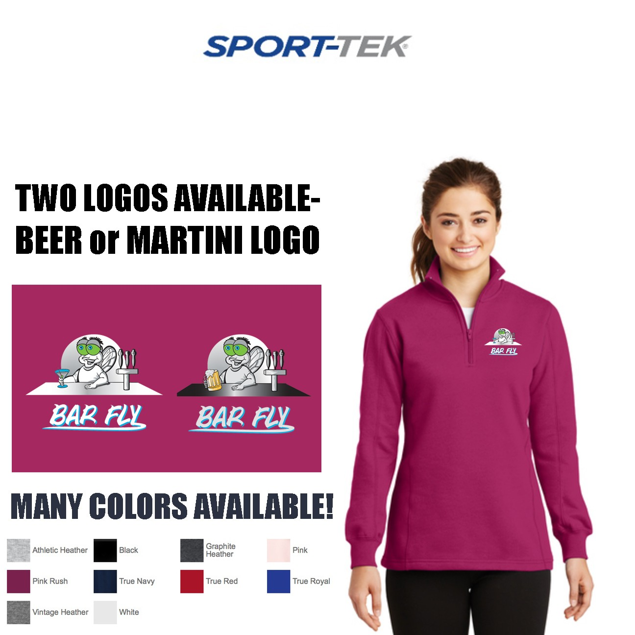 Bar Fly Apparel Sport-Tek 1/4 zip Sweatshirt, Womens Fit