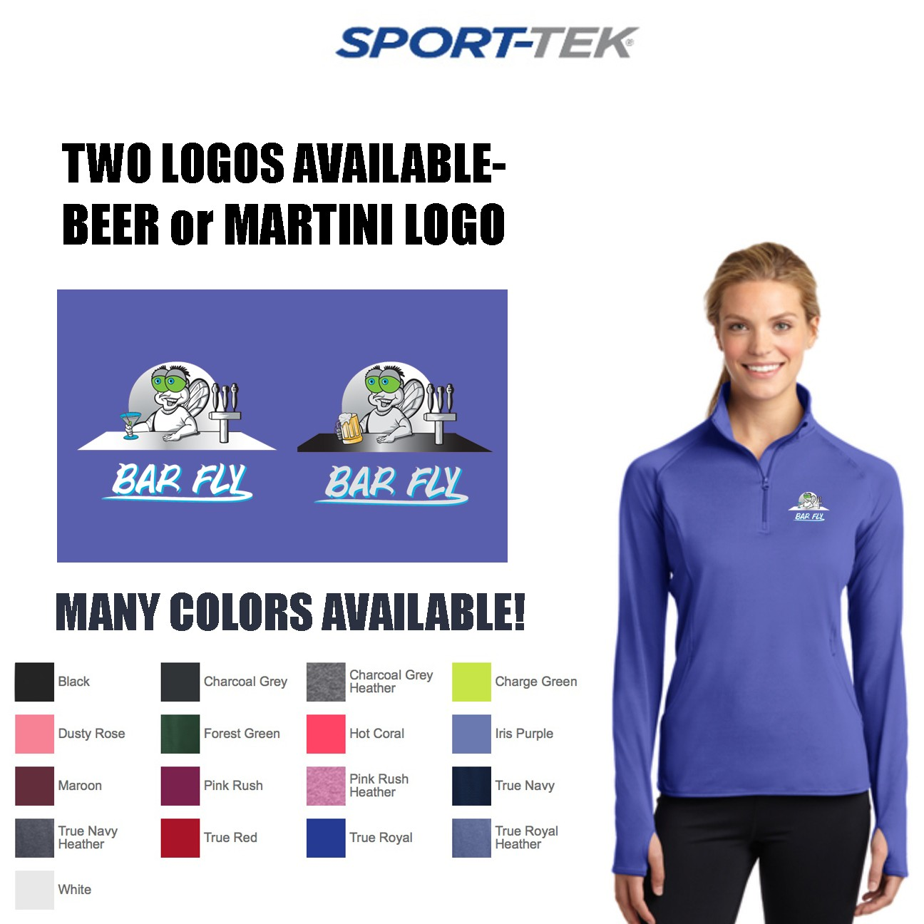 Bar Fly Apparel 1/2 Zip Sport-Tek Sport-Wick Stretch Pullover, Women's Fit
