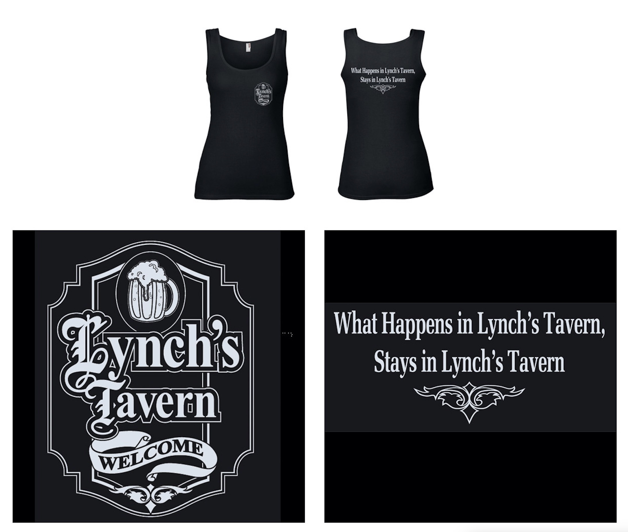 Lynch's Tavern, Official Logo, Print Featuring Silver Shimmer Ink Applique