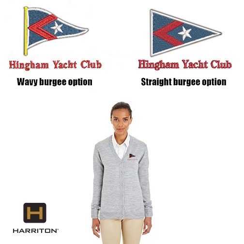 Hingham Yacht Club Harriton Pilbloc™ V-Neck Button Cardigan Sweater For Women- No Pill, Easy Care