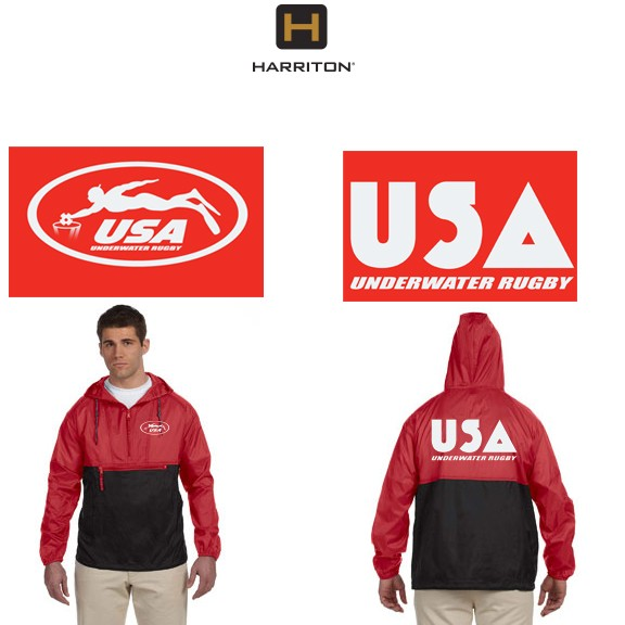 USA Underwater National Rugby Team Harriton Packable Nylon Jacket by Alpha/Broder